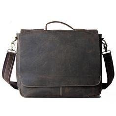 0526893b2659 Vintage Handmade Crazy Horse Leather Briefcase   Messenger   13