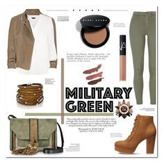 """▹ M G ✩"" by f-ashioninside ❤ liked on Polyvore featuring McQ by Alexander McQueen, L'Autre Chose, Avenue, Sif Jakobs Jewellery, Bobbi Brown Cosmetics, NARS Cosmetics, military, Gogreen and militarygreen"