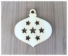 6 Pieces- Christmas Ornament Shapes With Stars/ Vintage Style Craft Wood Shapes - pinned by pin4etsy.com