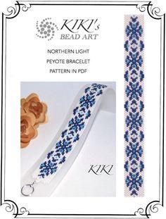 Peyote Pattern for bracelet - Northern light peyote bracelet cuff pattern in PDF - instant download