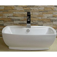 Vitreous China Ceramic White Vessel Sink | Overstock.com Shopping - The Best Deals on Bathroom Sinks