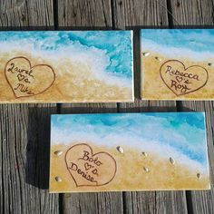 Names in the sand, Custom personalized painting of beach, customized beach painting, personalized gift ideas, beach home decor, 12x24 canvas