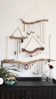 Wall Mount Jewelry Organizer, Diy Jewelry Holder, Jewelry Hanger, Jewelry Organization, Bedroom Organization, Jewelry Stand, Organization Ideas, Diy Jewelry Wall, Bedroom Storage