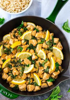 One Pan Lemon Basil Chicken with Spinach. Ready in 20 minutes! Fresh, flavorful, and healthy. Serve with rice for a quick and easy weeknight dinner.
