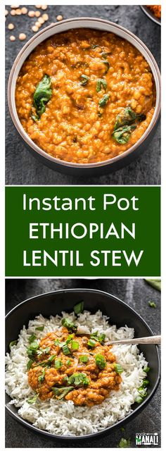 Ethiopian Lentil Stew made easy in the Instant Pot! Flavorful, spicy & comfortin… Ethiopian Lentil Stew made easy in the Instant Pot! Flavorful, spicy & comforting, this stew is also vegan & gluten-free and makes an easy weeknight meal! Instant Pot Pressure Cooker, Pressure Cooker Recipes, Pressure Cooking, Slow Cooker, Lentils Instant Pot, Ethiopian Lentils, Vegan Stew, Vegan Curry, Raw Vegan
