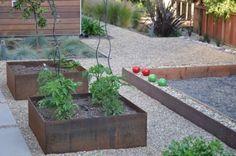 steel planters    Bocce Ball court - modern - landscape - san francisco - Huettl Landscape Architecture