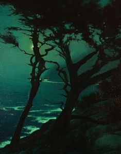 Misty Moonlight, Point Lobos by Brian Blood - Oil
