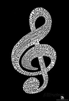 Music Note Composer Names Text Poster Print--PURCHASED