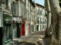 Avignon : Houses and trees of the Teinturiers street
