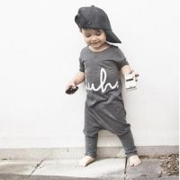 Cheapest Fashion Summer Jumpsuit European And American Wind Bew Baby Conjoined With Short Sleeves Grey