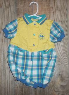 dda99f80b8843 Details about Vintage Boys Gymboree Plaid Bubble Newborn One Piece Blue  Green Teal Yellow Car