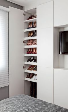 45 The Best Shoes Rack Design Ideas That are Trending Today The Best Shoes Rack Design Ideas That Are Trending Today 13 Bedroom Closet Design, Wardrobe Design, Closet Designs, Bedroom Storage, Best Shoe Rack, Diy Shoe Rack, Shoe Storage, Shoe Racks, Rack Design