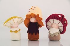 Mushroom children's dolls / Eco-Friendly natural - waldorf doll, eco friendly craft for kids Childrens Dolls, Wood Peg Dolls, Felt Fairy, Kegel, Paperclay, Waldorf Dolls, Felt Toys, Handmade Toys, Handmade Jewelry