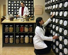 Herbalists working at Bastyr Center's Chinese Herbal Medicine Dispensary.