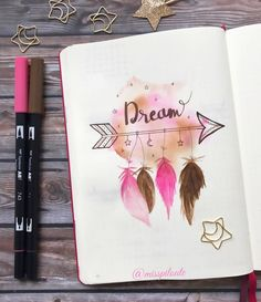 """463 Likes, 50 Comments - ραυℓιиє (@misspiloute.bujo) on Instagram: """" Dream... with a touch of pink ✨ Original drawing found on #pinterest but there was no artist…"""""""