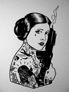 Princess Leia ...I like that her tats aren't all Star Wars tats. And SLAYER!