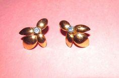 J.M.S v20 12K gold filled Rare Blue Rhinestone huggy Screw Back earrings Signed #JMS #drop