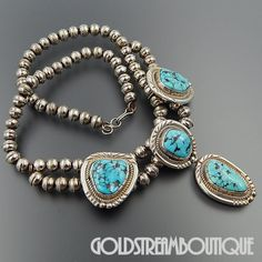 """NATIVE AMERICAN FRED GUERRO (d) NAVAJO STERLING SILVER TURQUOISE CEREMONIAL TRADITIONAL NECKLACE """"17.5"""""""