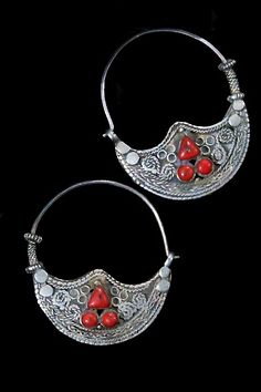 Large Afghan Tribal Jewelry Earrings in Silver and Red Coral.