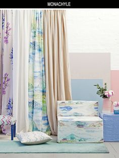 Bluebellgray's Monachyle fabric is a super scale landscape of Loch Voil and its surroundings in the Scottish Highlands. Fi's delicate chalky drawing in pastel blues, dusty pinks and shaded greens capture the full colour palette of the loch and its banks.