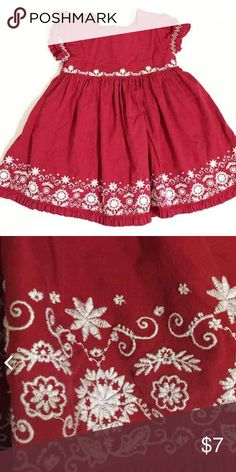 Gap Red Dress Adorable red dress with white embroidery. No stains. Normal wash and wear. Gap Dresses Formal