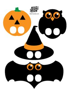 Halloween candy bar wrappers, pumpkin carving stencils, cupcake toppers, Halloween finger puppets, Halloween flashlight mask and ghost poop treat bags. Halloween Candy Bar, Halloween Trees, Halloween Pictures, Holidays Halloween, Easy Halloween, Vintage Halloween, Mascaras Halloween, Halloween Crafts For Toddlers, Fall Crafts