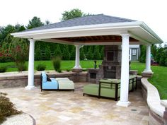 KS Pools and Patios cabana builders in Warminster, PA. For more information on custom pool cabanas in Doylestown, PA visit our site today! Bbq Guys, Gazebo, Pergola, Grill Station, Pool Cabana, Custom Pools, 4 Bedroom House, Patio Design, Decks