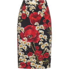 Dolce & Gabbana Poppy and daisy-print pencil skirt (63.000 RUB) ❤ liked on Polyvore featuring skirts, red white, fitted pencil skirt, below knee pencil skirt, red pencil skirt, below knee length pencil skirts and white knee length pencil skirt