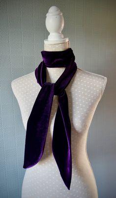 Brown velvet scarf hair scarf velvet hair wrap chocolate neckerchief velvet tie