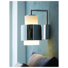 Y1949 wall lamp mid century design, Denmark.  Opal white glass with chrome sleeve option.  List $183.