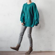 Knitted green oversized sweater mohair sweater от LYMIclothes