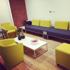 I love the @allermuir  #clerkenwell showroom with all their fabulous furniture upholstered in our band new range #Synergy.