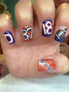 Need to do bronco nails before the big game☺️ Nail Polish Designs, Cute Nail Designs, Nails Design, Denver Broncos Nails, Broncos Fans, Cute Nails, Pretty Nails, Football Nail Art, Just Over The Top