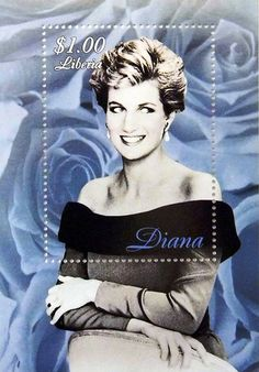 """Princess Diana """"Rose Portrait"""" Commemorative Postage Stamp Sheet Issued by Liberia, Diana - Princess of Wales 1961 - 1997."""
