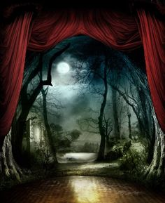 I had a dream just like this, with the red curtains opening to Somewhere else.