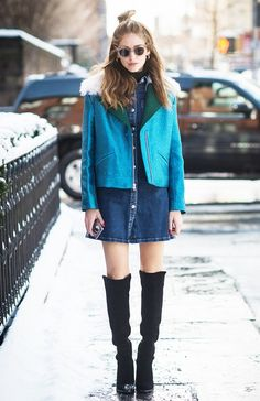 Chiara Ferragni opted for a laid-back denim button-front dress and bold jacket at NYFW