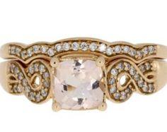 Morganite diamond engagement ring set 14KT rose gold