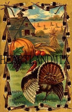 Happy Thanksgiving Vintage Image Turkey Pumpkin corn field | Etsy