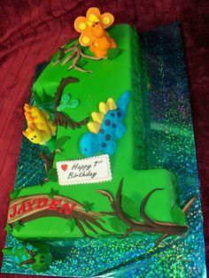 DINOSAUR THEMED number One Cake Best birthday cakes in Auckland, New Zealand. FRESCO FOODS LTD www.frescofoods.co.nz Facebook: Fresco foods cakes Email: fresco@woosh.co.nz