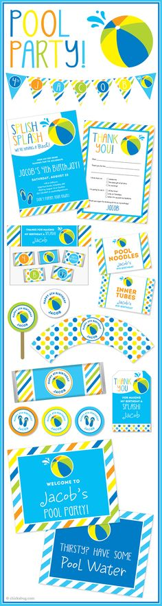 Pool party! Invitations, water labels, stickers, DIY party printables and lots more from Chickabug.com. So perfect for a summer birthday!!