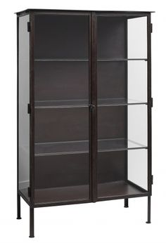 Nordal - Vitrine med 2 glasdøre - brun - Jernvitrine i Brun Glass Shelves, Storage Shelves, Tall Cabinet Storage, Shelving, Locker Storage, Vintage Medical Cabinet, Smart Tiles, Rustic Wood Walls, Vintage Iron