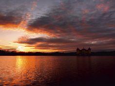 Uta Naumann: Deutschland- Schloss Moritzburg Sonnenuntergang - Leinwandbild auf Keilrahmen Leinwandbilder