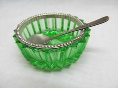 Antique Green Glass Open Salt Cellar Silver Beaded Rim W/ Spoon