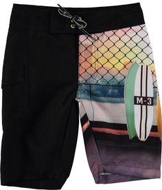Nalvaro - City Surfboards - long bathing shorts with surf print