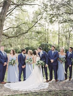 Amanda and Stephen's Dusty Blue Wedding with lots of Greenery - Wedding Planning Baby Blue Weddings, Blue And Blush Wedding, Sage Wedding, Blue Bridal, Dream Wedding, Light Blue Weddings, March Weddings, Navy Blue Groomsmen, Bridesmaids And Groomsmen