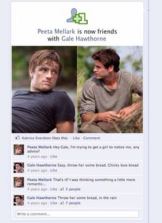 Lol haha funny pics / pictures / Gale / Peeta / Hunger Games Humor / Facebook
