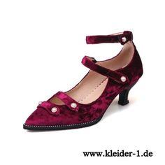Satin Damen Sandaletten in Dunkelrot