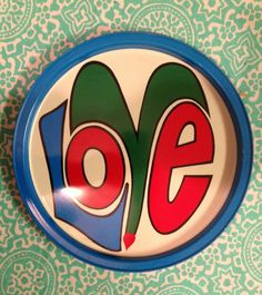 Vintage 1960s Round Metal LOVE Tray Green by VintageOutoftheAttic