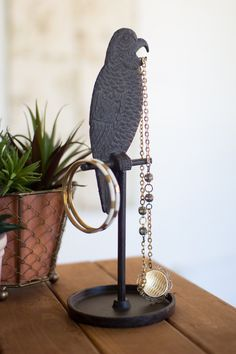 Cast Iron Parrot Jewelry Stand