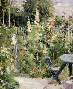 Berthe Morisot Roses Tremieres (Hollyhocks), 1884, painting Authorized official website